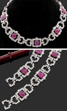 A superb Art Deco platinum, diamond and ruby necklace/bracelet, circa Diamond Pendant Necklace, Diamond Bracelets, Sterling Silver Bracelets, Ruby Necklace, Bangles, Jewelry Bracelets, Diamond Jewelry, Bangle Bracelet, Jewlery