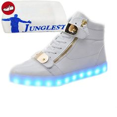 [Present:kleines Handtuch]Rot High-Top 44 EU Sportschuhe für Damen Herren JUNGLEST Turnschuhe Schuhe Unisex-Erwachsene Sneaker Farbe 7 weise LED USB Leucht 2D1F1k