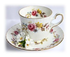 Vintage Roses Teacup English China Floral Tea Cup English Cottage Style Tea Party Shabby Chic Demitasse Teacup Royal Stafford Bone China   Relax and sip your cares away with this gorgeous ornate demitasse teacup and saucer duo set. It was made in England by Royal Stafford and it appears to be an excellent sample of bone china items. This teacup and saucer are in excellent condition without any damages. The measurement: a cup 7 cm / 2.8 (dia) 7 cm / 2.8 (H) a saucer 13 cm / 5.1 ...