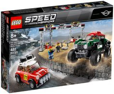 Stage a classic vs. modern rally race with these cool LEGO® Speed Champions 75894 1967 Mini Cooper S Rally and 2018 MINI John Cooper Works Buggy car toys! The 1967 Mini Cooper S Rally features a roof rack with 2 spare tires, just like the original car, Mini Cooper S, Mini John Cooper Works, Ferrari F40, Maserati, Porsche 911 Rsr, Ford Mustang Fastback, Buggy, Dodge Challenger, Dodge Charger