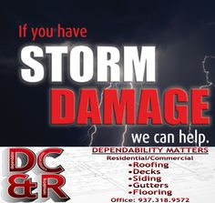 Dependable Construction is here to help you in any way. Whether it's storm damage to your; roof, siding, gutters, windows, doors, shutters, even decks. No job too big or too small, just give us a call for a free estimate. 937.318.9572 #DCandR #DependabilityFirst #StormDamage