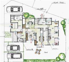 平屋の和モダンの間取り Craftsman Floor Plans, House Floor Plans, Plan Sketch, One Story Homes, Japanese Architecture, Japanese House, Story House, House Layouts, House Rooms