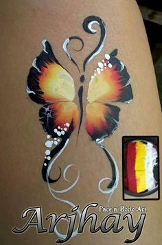 Beautiful one stroke butterfly by – Top Of The World Butterfly Face Paint, Butterfly Painting, Butterfly Flowers, Butterflies, Belly Painting, One Stroke Painting, Cheek Art, Arm Art, Troll Face