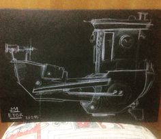 Ship 3in white pencil on black paper