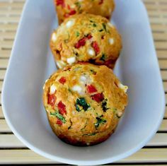Savory muffins are certainly worth savoring. Full of spinach, feta, peppers, and paprika, these Savory Feta Spinach and Sweet Red Pepper Mu. Savory Muffins, Savory Breakfast, Breakfast Muffins, Breakfast Ideas, Breakfast Recipes, Breakfast Cafe, Breakfast Smoothies, Breakfast Casserole, Easy Mediterranean Diet Recipes