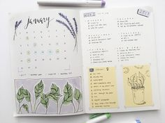 first bullet journal spread ! the first week of january is purple and green and yellow ; Bullet Journal Tumblr, Planner Bullet Journal, Bullet Journal Spread, Bullet Journal Layout, My Journal, Bullet Journal Inspiration, Journal Pages, Bullet Journals, Planner Diario