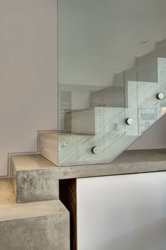 Victorian-Era Town House Gеtѕ A Classy Renovation And Modern Touches In Western London City : Wooden Stair Design With Glass Railing Concrete Staircase, Glass Stairs, Staircase Railings, Wooden Staircases, Glass Railing, Staircase Design, Stair Design, Banisters, Victorian Townhouse
