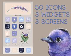 App Icons, Iphone Icon Aesthetic Purple, App Icons, iOS 14, Pastel Aesthetic iPhone, Iphone Wallpaper, Smartphone Wallpaper, Widgetsmith
