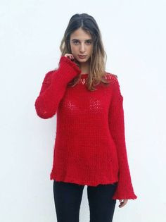 Red knit sweater women's cozy sweater red sweater wool by EstherTg Loose Knit Sweaters, Hand Knitted Sweaters, Sweater Knitting Patterns, Cozy Sweaters, Knitted Hats, Sweaters For Women, Knitting Sweaters, Red Jumper, Knit Skirt
