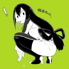 ! 1girl :> ass asui_tsuyu bnnbnn bodysuit boku_no_hero_academia character_name frog_girl from_behind gloves green_background hair_rings long_hair looking_back low-tied_long_hair simple_background solo squatting tongue tongue_out webbed_feet wet