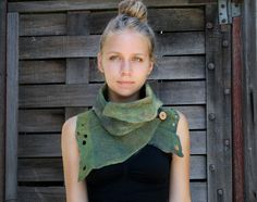 Nuno felted scarves - Felted Scarf - Felt Cowl - Organic texture- Natural Adventure- made to order. $95.00, via Etsy.