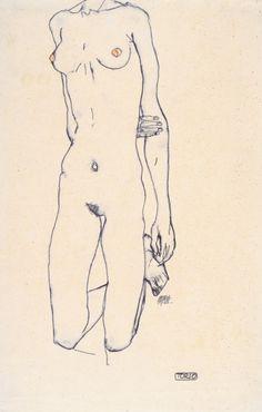 Egon Schiele-Torso eines knienden Mädchens (Torso of a kneeling girl)-1913