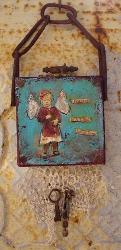 Canvas Collage Original Mixed Media Altered ART by Mosshillstudio