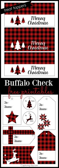 Buffalo check plaid free printables for Christmas Treat Toppers and gift tags!  Grab them on Capturing-Joy.com!