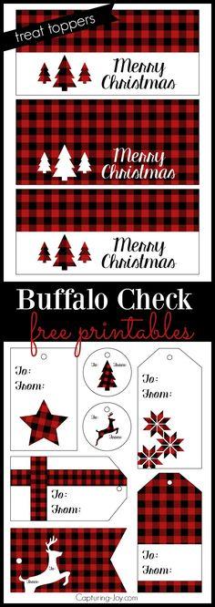 Buffalo check plaid free printables for Christmas Treat Toppers and gift tags!  Grab them on Capturing-Joy.com!