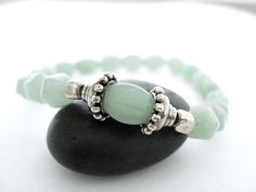 Aventurine Meditation Bracelet Green by peaceofminejewelry on Etsy, $26.00