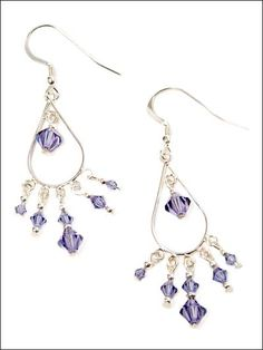 Lavender Drops Chandelier Earrings Free Beading Pattern of the Day from freepatterns.com 9/20/13