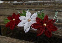 Poinsettia Flower, Flower Ornaments, Paper Ornaments, Snowflake Ornaments, Heart Ornament, Paper Quilling Patterns, Quilling Paper Craft, Quilling Cards, Christmas Ornament Sets