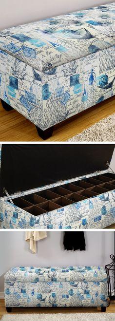 Upholstered Shoe Storage Bench // Love the Design & Color!