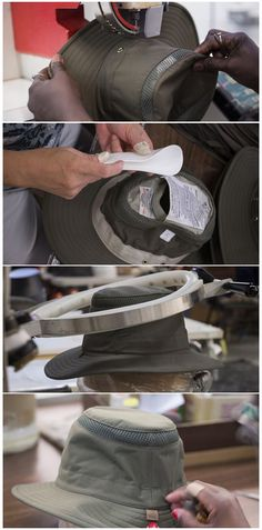 The next Tilley Hat step is the finishing. We add the 'bells & whistles', steam it, snip any loose threads and inspect it to ensure quality. #MadeInCanada  #Handcrafted #Quality #TilleyHatStory