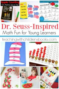 These Dr Seuss math activities are perfect for kids of all ages! Choose one or more to go with your next Dr Seuss story time! Kindergarten Math Activities, Book Activities, Math Resources, Number Activities, Homeschooling Resources, Reading Resources, Preschool Math, Dr. Seuss, Dr Seuss Week