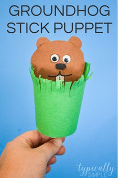 Grab some craft supplies to make this cute stick puppet for Groundhog Day! The kids will have so much fun popping the groundhog out of his little burrow - will the groundhog see his shadow on February Easy Crafts For Kids, Craft Activities For Kids, Toddler Crafts, Fun Crafts, Craft Ideas, Craft Projects, Community Activities, Winter Activities, Creative Crafts
