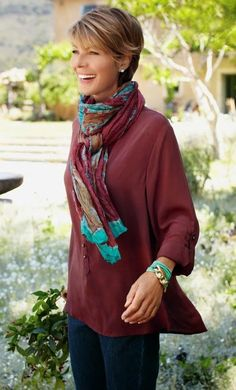 Love this look with the scarf and blouse