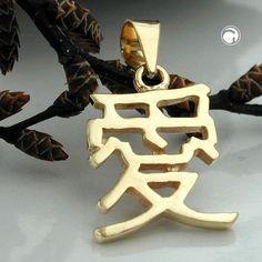 Anhänger, chinesisch, Liebe, 9Kt GOLD  chinesisches Zeichen für Liebe