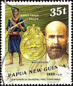PAPUA NEW GUINEA.  Royal Papua New Guinea Police Force. HISTORIC ASPECT OF THE FORCE.  SIR WILLIAM MCGREGOR, ARMED NATIVE CONSTABULARY FOUNDER, 1890 & EARLY OFFICE. Scott 694 A158, Issued 1988 June 15, Litho., Uwmk., Perf. 14 x 15, 35t. /ldb.