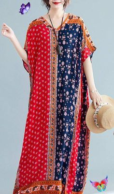 Natural red print cotton dresses v neck pockets cotton robes summer Dresses<br> Nice Dresses, Casual Dresses, Long Dresses, Maxi Dresses, Chiffon, Summer Dress Outfits, Cotton Style, Women's Fashion Dresses, Cotton Dresses