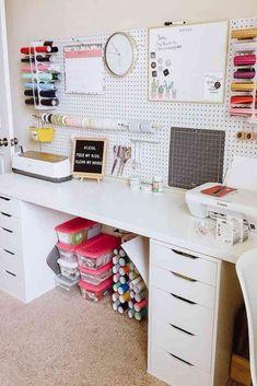 Diy Office Desk, Home Office Organization, Home Office Space, Diy Desk, Home Office Desks, Organization Ideas, Desk Space, Organizing, Craft Room Design
