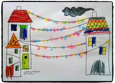 la ville en fete, maisons, noel, empreintes de doigts, guirlandes, carnaval