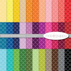 Moo and Puppy Rainbow Scales Medium Digital Scrapbook Paper