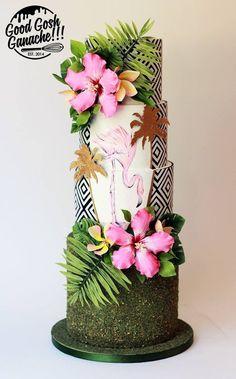 Tropical wedding cake idea featuring flowers and a flamingo- Good Gosh Ganache Shared by WCC Cupcake Torte, Cupcakes, Hawaii Cake, Hawaii Hawaii, Luau Cakes, Wedding Cake Centerpieces, Flamingo Cake, Fresh Flower Cake, Black Wedding Cakes