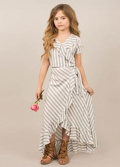 Take a look at this Gray & White Stripe Zahara Ruffle Crop Top & Skirt - Girls today! Kids Outfits Girls, Cute Girl Outfits, Little Girl Dresses, Girls Dresses, Girls Fashion Clothes, Little Girl Fashion, Fashion Outfits, Teen Clothing, Fall Outfits