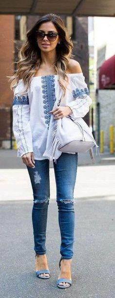 #spring #street #fashion #outfitideas | OTS Top + Denim + Blue Sandals | Mia Mia Mine