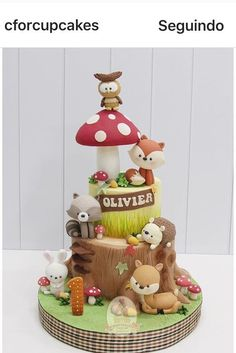 Cupcakes Decorados Animales Ideen für 2019 - My CMS 1st Bday Cake, Baby Boy 1st Birthday, Fox Cake, Woodland Cake, Animal Cakes, Fondant Figures, Cakepops, Cute Cakes, Celebration Cakes