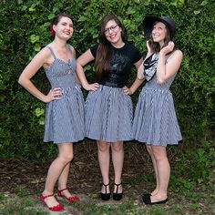 Look at these hotties in the Trashy Diva Hottie Dress in black gingham!! Lauren, Sandy and Cali were accidental triplets, read the blog post to see how they styled their own look!!! #trashydivagingham #trashydivahottiedress #trashydivagatheredminiskirt #trashydiva
