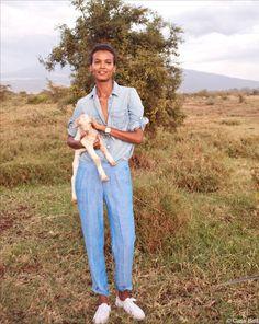 Liya Kebede in Tanzania for J. Crew.