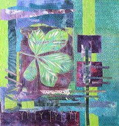 I seem to have taken a very long time getting this third chestnut leaf gelli print piece quilted. It is bigger than the others . Gelli Plate Printing, Printing On Fabric, Textile Design, Textile Art, How To Finish A Quilt, Small Quilts, Student Work, Fiber Art, Printmaking