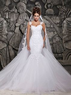 Cheap Trumpet/Mermaid Spaghetti Straps Sleeveless Beading Chapel Train Organza Wedding Dresses