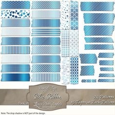 360 pieces of shiny blue & white Digital Tape (24 patterns in 15 different sizes) Files are PNG with a transparent background.  The tapes are great for blogging, scrapbooks, cards, invitations, and more... $4.75 #digital, #tape, #washi, #patterns, #chevron, #checks, #stripes, #polka dots, #damask, #Moroccan, #argyle, #blue, #white, #scrapbooking, #cards
