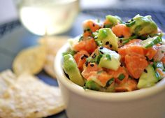 Salmon Tartare: a wonderfully gluten-free, high protein, raw salmon summer appetizer Wild Salmon Recipe, Baked Salmon Recipes, Fish Recipes, Seafood Recipes, Seafood Dishes, No Carb Recipes, Great Recipes, Cooking Recipes, Favorite Recipes