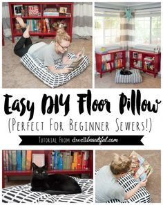 Dwell Beautiful uses Marimekko fabric to make an easy-to-sew DIY Floor Pillow! Make one for watching movies or reading on a rainy day. Great for beginners!