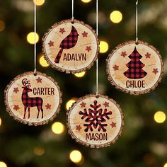 Personalized Perfectly Plaid Rustic Wooden Ornament - Reindeer-Available in 4 Patterns Wooden Christmas Ornaments, Christmas Wood, Christmas Projects, Holiday Crafts, Plaid Christmas, Christmas Gift Craft Ideas, Rustic Christmas Crafts, Christmas History, Christmas Gifts To Make