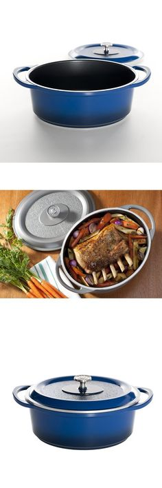 Nordic Ware Pro Cast Traditions Enameled Oval Roaster with Cover, 5.5-Quart, Midnight Blue