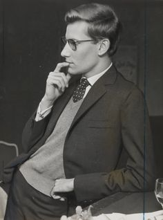 Yves Saint Laurent in London to see how audiences and critics received the wardrobe he had created for the Roland Petit ballet 'Cyrano de Bergerac'. 1959.