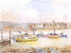 Watercolour, Boats, Ships, Pencil, England, Sketches, Drawings, Painting, Art