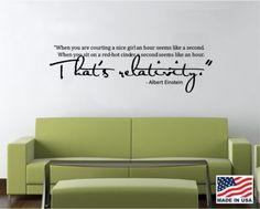 Vinyl Wall Decal Art Saying Quote Decor - That's Relativity Albert Einstein | eBay
