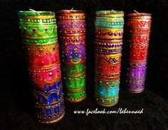 Bohemian Henna Mehndi Mexican Prayer Candle Red by Behennaed